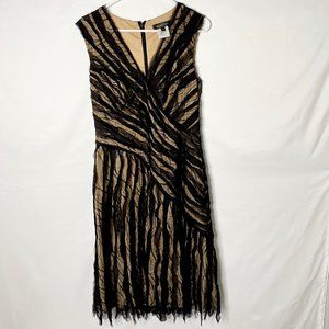 Tadashi Shoji Black & Nude V-Neck Dress Sz 10 MINT